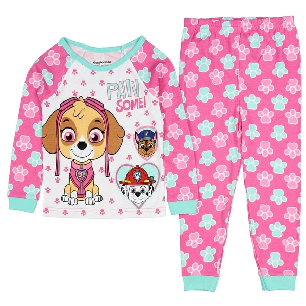 b69e9d7d6f632 Paw Patrol Little Girls Paw Some! Long Sleeve Cotton Pajama Tight Fit