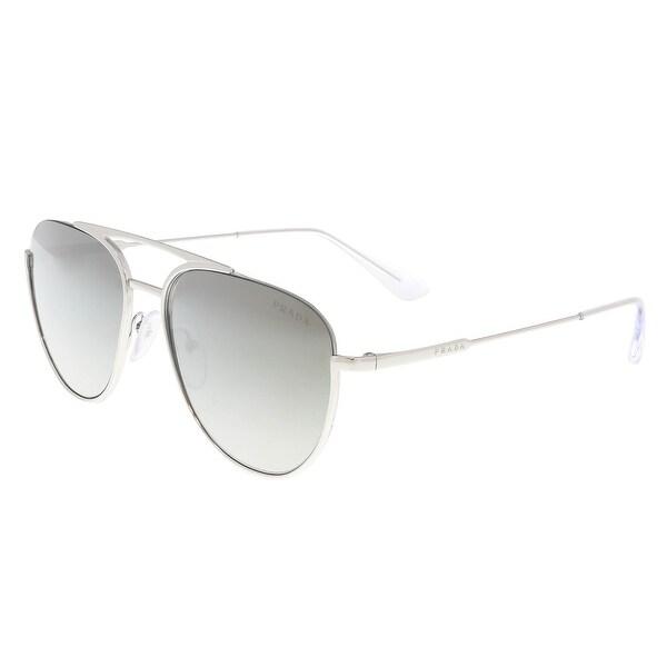 fb51cbef8947 Shop Prada PR 50US 1BC5O0 Silver Aviator Sunglasses - 56-17-140 ...