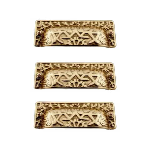 Antique Bin Pull Bright Solid Brass Cup Pack of 3 Renovator's Supply