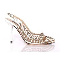 Dolce & Gabbana Beige White Leather Slingbacks Pumps Shoes - 41