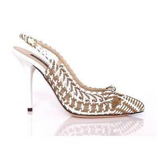 Dolce & Gabbana Beige White Leather Slingbacks Pumps Shoes - 41