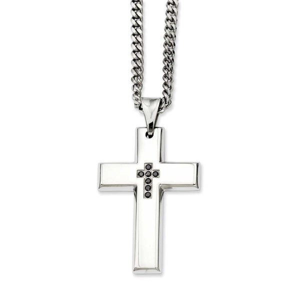 Stainless Steel Black-plated with Black Diamonds 22in Cross Necklace (3 mm) - 22 in