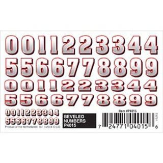 "Bevelled Numbers - Pine Car Derby Dry Transfer Decal 3""X2.5"" Sheet"