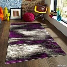 "Purple Allstar Modern. Contemporary Woven Rug. Drop-Stitch Weave Technique. Carved Effect. Vivid Pop Colors (7' 10"" x 10')"