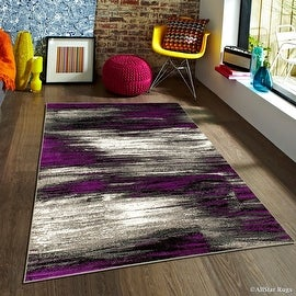 "Purple Allstar Modern. Contemporary Woven Rug. Drop-Stitch Weave Technique. Carved Effect. Vivid Pop Colors (5' x 6' 11"")"