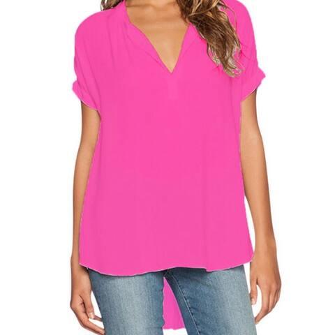 S-4Xl Plus Size Women Sexy V Neck Chiffon Blouse Ladies Summer Slim T Shirt