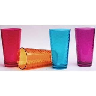Palais Glassware 'Vague' Collection,, Multicolored Wave Glasses (Set of 4 17 Oz Highballs)