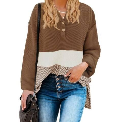 Half-Open Collar Button Knit Sweater