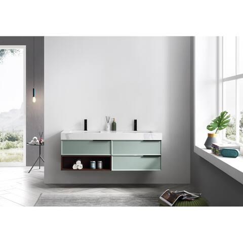 """MARFA 60"""" Aloe Green Wall Mount Modern Bathroom Vanity Set"""