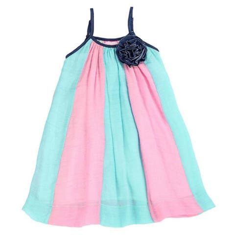 2ef56e5788 Lele For Kids Little Girls Pink Aqua Panel Rosette Accent Casual Dress