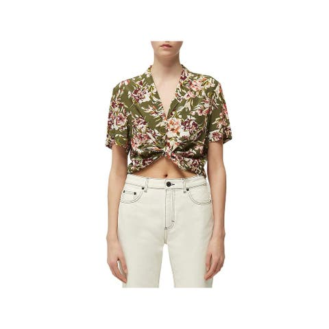 French Connection Womens Floriana Button-Down Top Printed Collared - Cactus - S