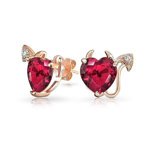 dcb7fe7d93be7 Valentine Red CZ Devil Heart Shape Cubic Zirconia Stud Earring For Women  Rose Gold Plated 925 Sterling Silver