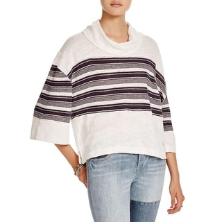 Free People Womens Crop Top Striped Bell Sleeves