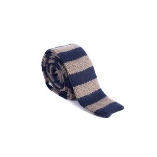 Brunello Cucinelli Cashmere Brown & Navy Striped Tie