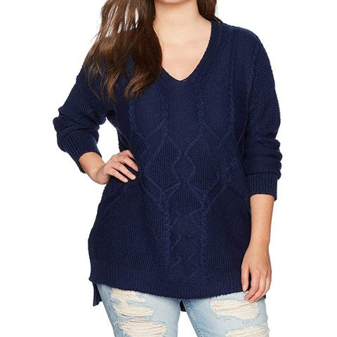 RACHEL Rachel Roy Women's Blue Size 1X Plus V-Neck Hi-Low Sweater