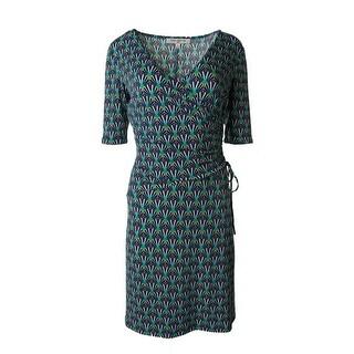 Evan Picone Womens Matte Jersey Printed Wear to Work Dress - 8