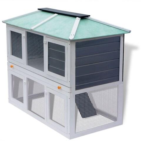 vidaXL Animal Rabbit Cage Double Floor Wood