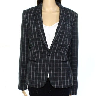 Tommy Hilfiger NEW Gray One Button Check Womens Size 4 Collared Jacket