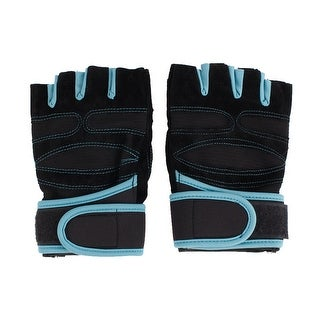 Weightlifting Exercise Cycling Fitness Half Finger Sport Gloves Black Blue Pair