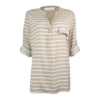 Calvin Klein Women's Roll Tab Sleeve Striped Blouse - m