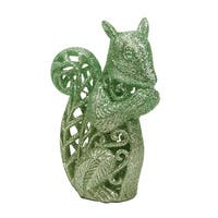 "4.25"" Silent Luxury Pastel Green Glittered Squirrel Christmas Ornament"