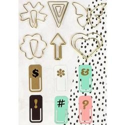 6 Shaped Gold Wire & 6 Painted - My Prima Planner Variety Clips 12/Pkg