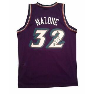 Karl Malone Autographed Utah Jazz Signed Swingman Basketball Jersey Beckett BAS COA LARGE
