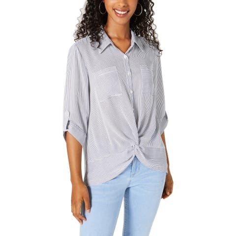 BCX Womens Blouse Striped Crepe - White/Blue - M
