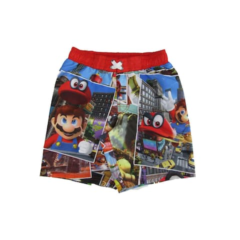 Super Mario Little Boys Multi Cartoon Inspired Odyssey Swim Shorts 4T