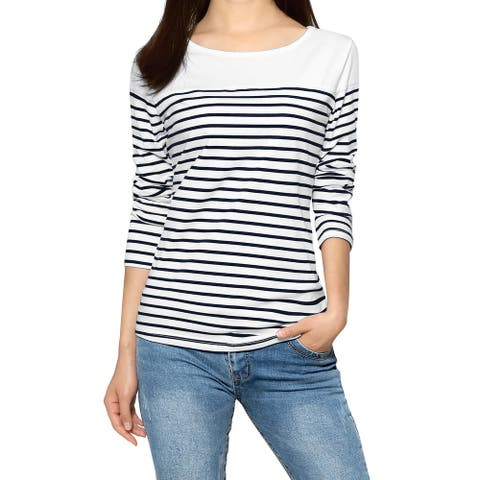 Women Color Block Long Sleeve Striped T-Shirt