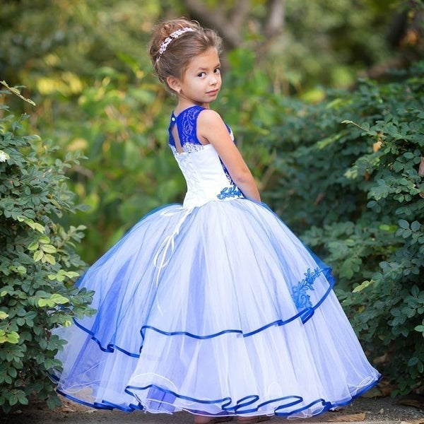 243a1c9e02d Little Girls Royal Blue White Organza Lace Layered Megan Flower Girl Dress  5 6