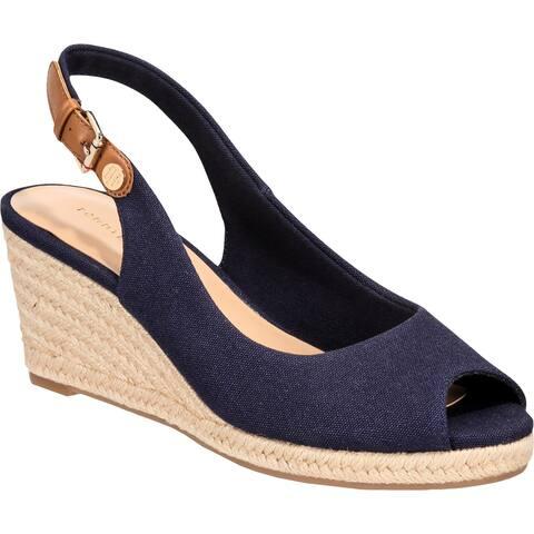 Tommy Hilfiger Womens Nhalia 2 Wedge Sandals Peep Toe Slingback - Medium Blue Fabric