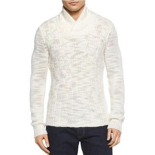 Calvin Klein Asymmetric Cable Knit Shawl Collar Sweater Snow White Medium M