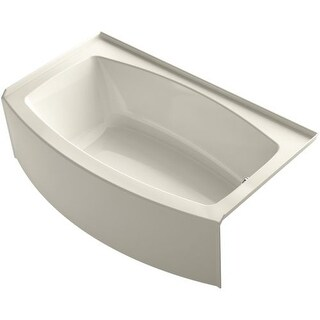 "Kohler K-1118-RA 60"" Three Wall Alcove Curved Apron Soaking Tub with Right Hand Drain"