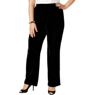 NY Collection Womens Plus Casual Pants Velvet Wide Leg - 3x