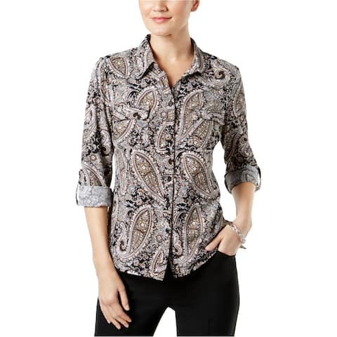 Ny Collection Womens Petite Printed Utility Button Up Shirt
