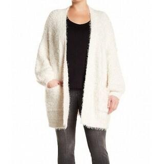 Melrose and Market NEW White Women Size 1X Plus Eyelash Cardigan Sweater
