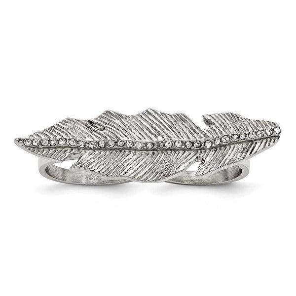 Chisel Stainless Steel Polished&Antiqued Leaf Two Finger Crystal Ring