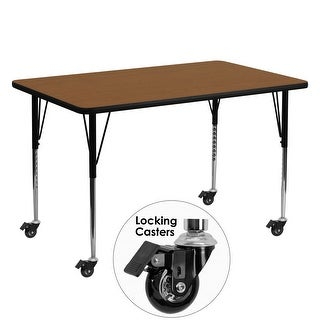 "Delacora FF-XU-A3060-REC-H-A-CAS-GG  60"" Wide Steel Framed Wood Top Adjustable Activity Table with Locking Casters"