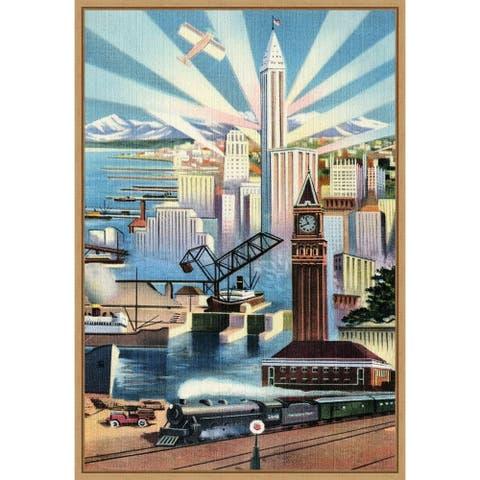 Modern Deco Empire by Retrotravel Framed Canvas Art