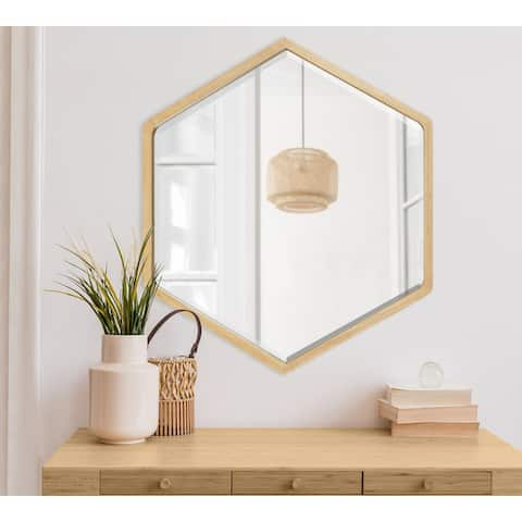 Kate and Laurel McLean Hexagon Wood Framed Wall Mirror - 26x30
