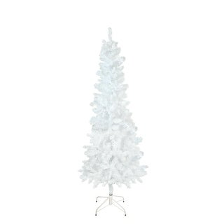 """7.5' x 34"""" White Glimmer Iridescent Spruce Pencil Artificial Christmas Tree - Unlit"""