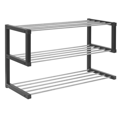 Allspace 3-Tier Shoe Storage Rack up to 12 Pairs Stackable,Sturdy Metal - 240078