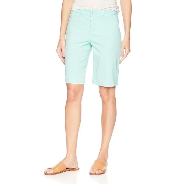 NYDJ Blue Pale Cabana Womens Size 2 Mid Rise Bermuda Walking Shorts