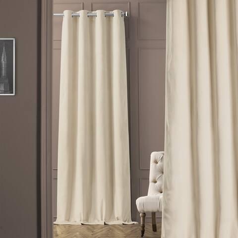 Exclusive Fabrics Ivory Grommet Velvet Blackout Curtain Panel