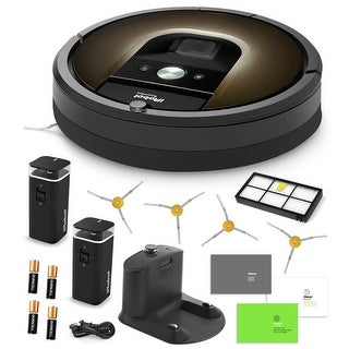 iRobot Roomba 980 Vacuum Cleaning Robot + 2 Dual Mode Virtual Wall Barriers + 4 Extra Side Brushes + Extra HEPA Filter + More