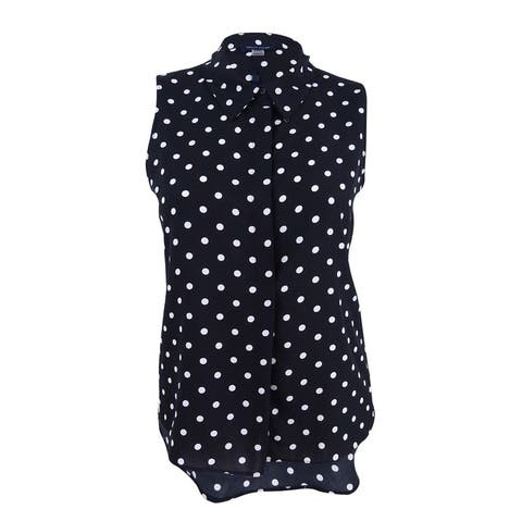 Tommy Hilfiger Women's Polka-Dot Blouse (L, Black/Ivory) - Black/Ivory - L