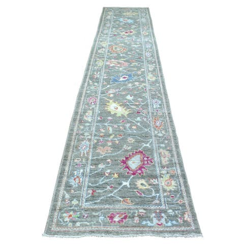 """Shahbanu Rugs Hand Knotted Gray Oushak with Floral Motifs Design Wool Oriental Wide XL Runner Rug (2'10"""" x 15'3"""")"""