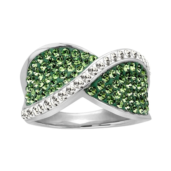 Crystaluxe Wave Ring with Meadow and White Swarovski Crystals in Sterling Silver - Green