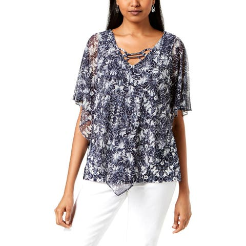 NY Collection Womens Petites Pullover Top Printed Point Hem - PM